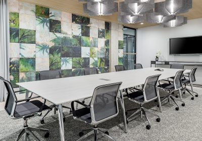 Meeting room with green walls at Workplace One Peter Street