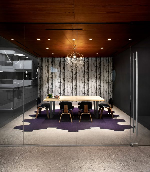 Meeting room with mood lighting at Workplace One King West